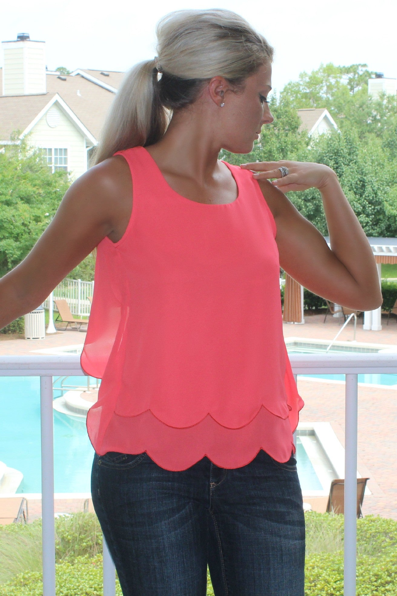 Tiffani Top, Coral