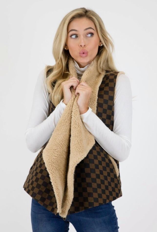 Judith March: Check Mate Jacquard Vest w/Shearling Lining