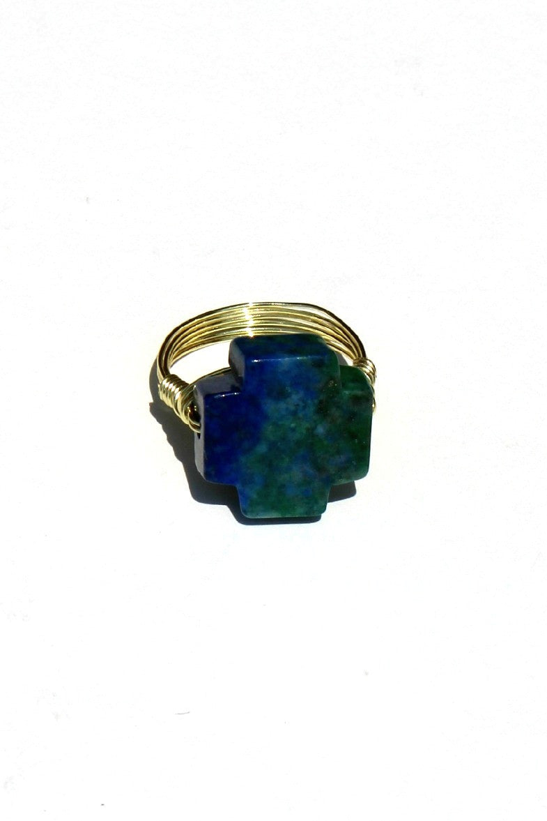 Swara Jewelry: Gemstone Ring, Green/Blue