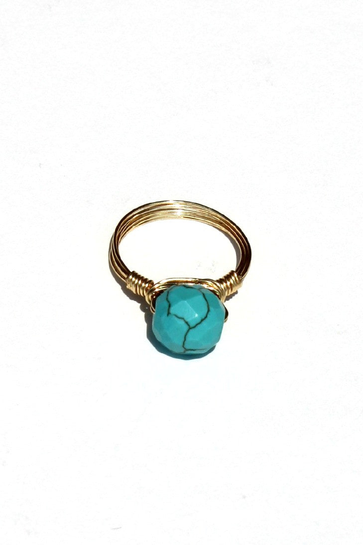 Swara Jewelry: Round Gemstone Ring, Turquoise