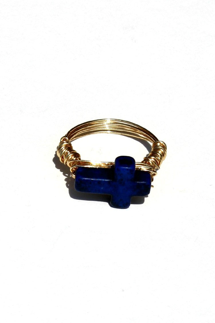 Swara Jewelry: Cross Gemstone Ring, Blue