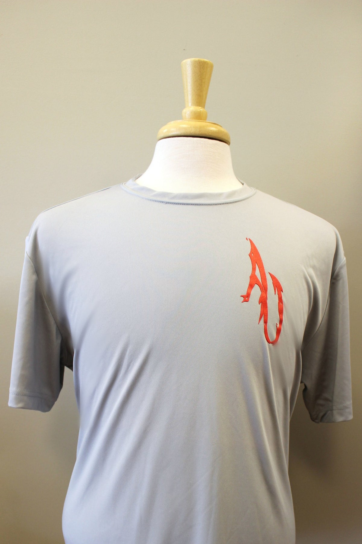 Angler Up: Short Sleeve Performance Tee, Gray/Red