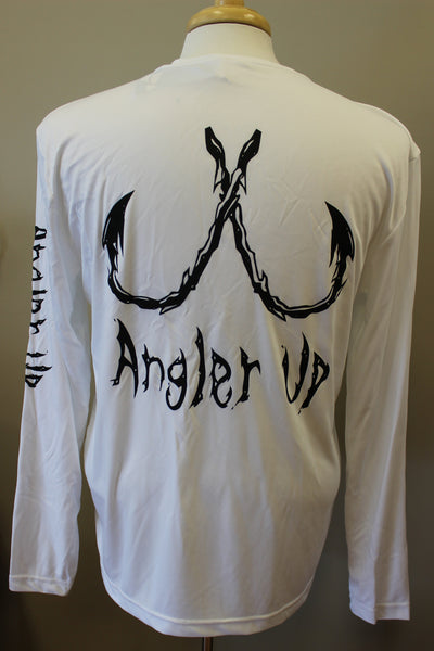 Angler Up: Long Sleeve Performance Tee, White/Black