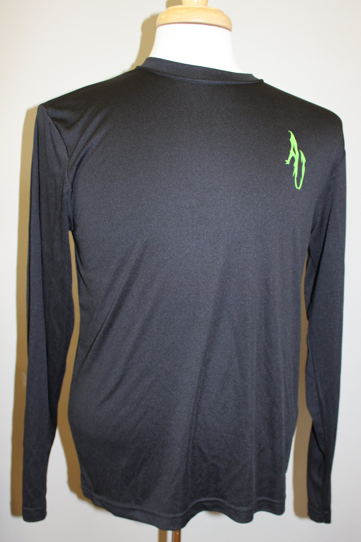 Angler Up: Long Sleeve Performance Tee, Black/Green