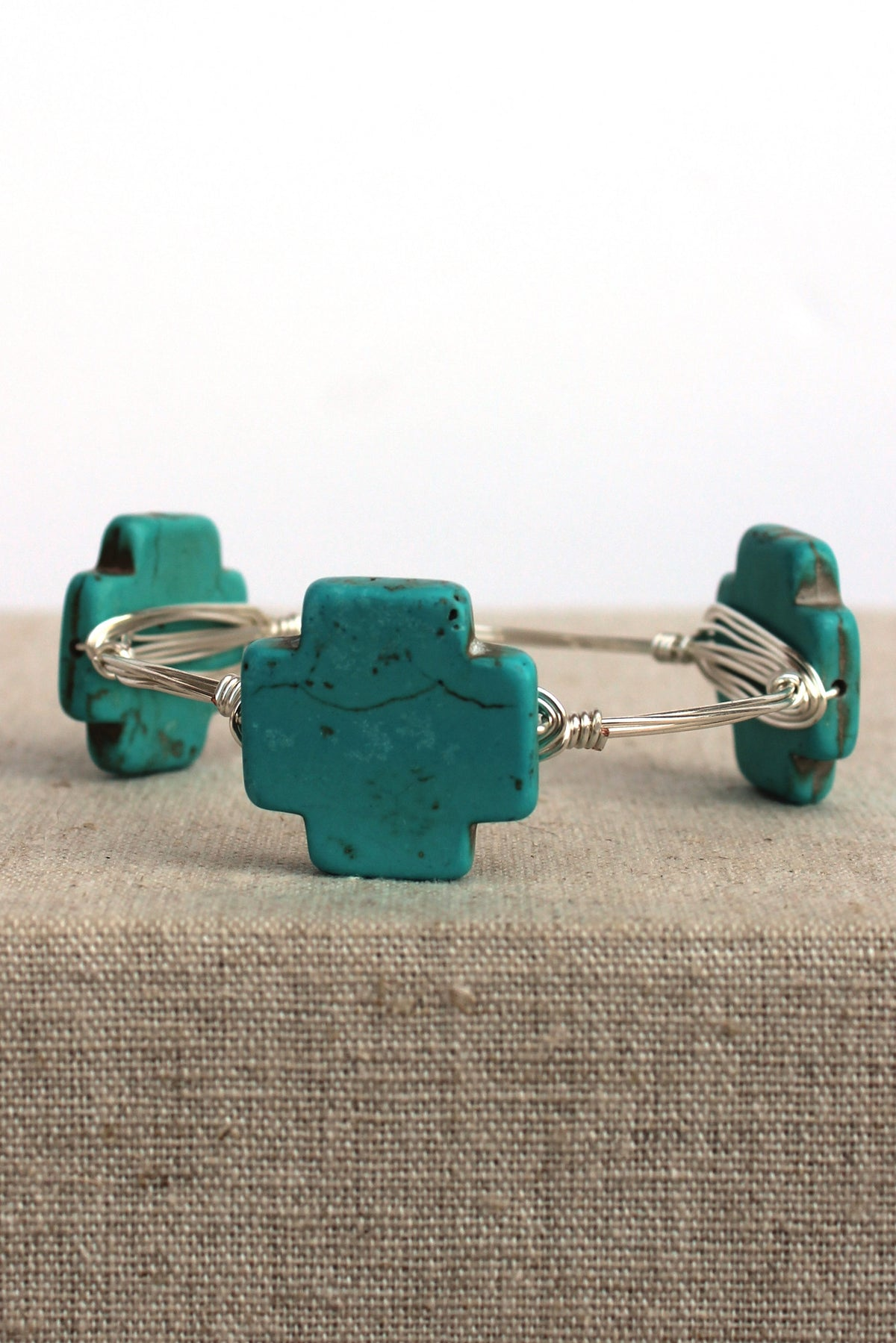 Square Cross Bangle, Turquoise