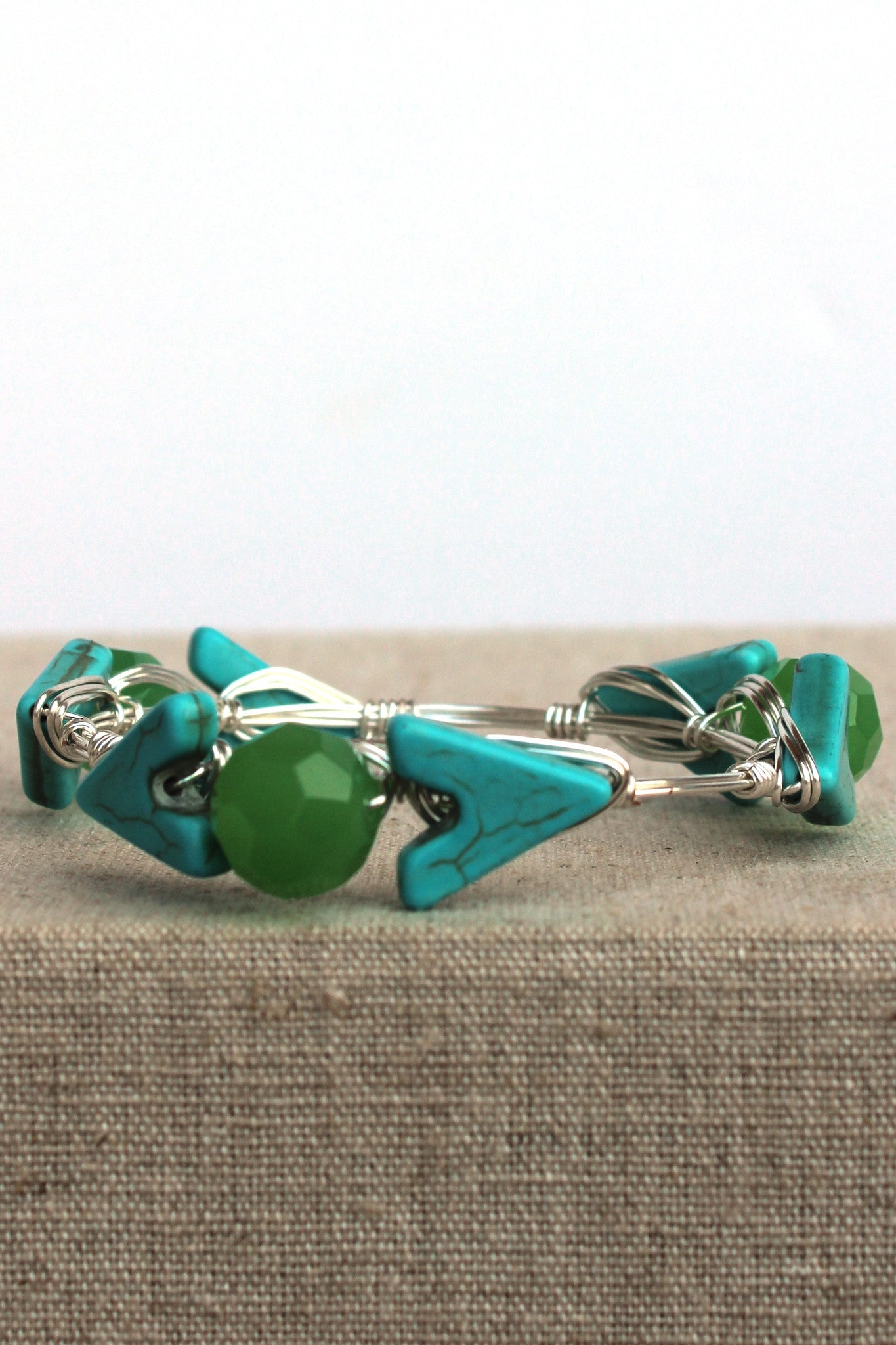 Arrow and Bead Bangle, Turquoise
