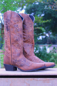 Laredo: Cross Snip Toe Boots, Brown