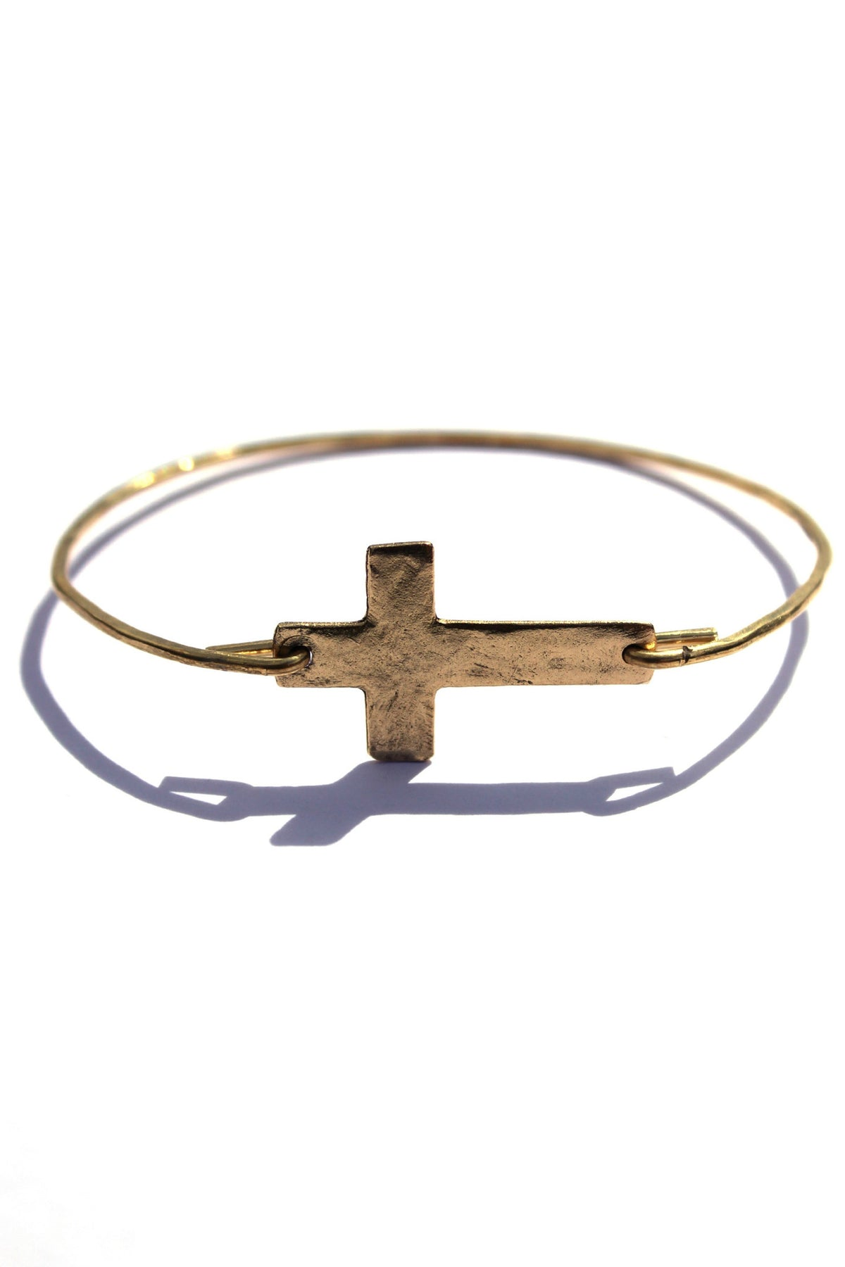 Julio: Wire Cross Charm Bracelet, Gold