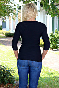 Tees by Tina: Diamont 3/4 Sleeve, Black