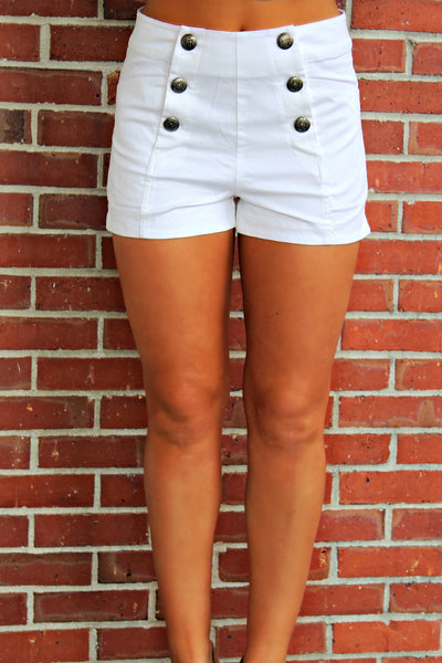 High Waist Shorts, White