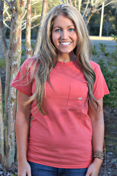 Southern Marsh: Embroidered Pocket Tee, Burnt Sienna