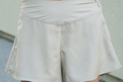Flared Culotte Shorts, Taupe