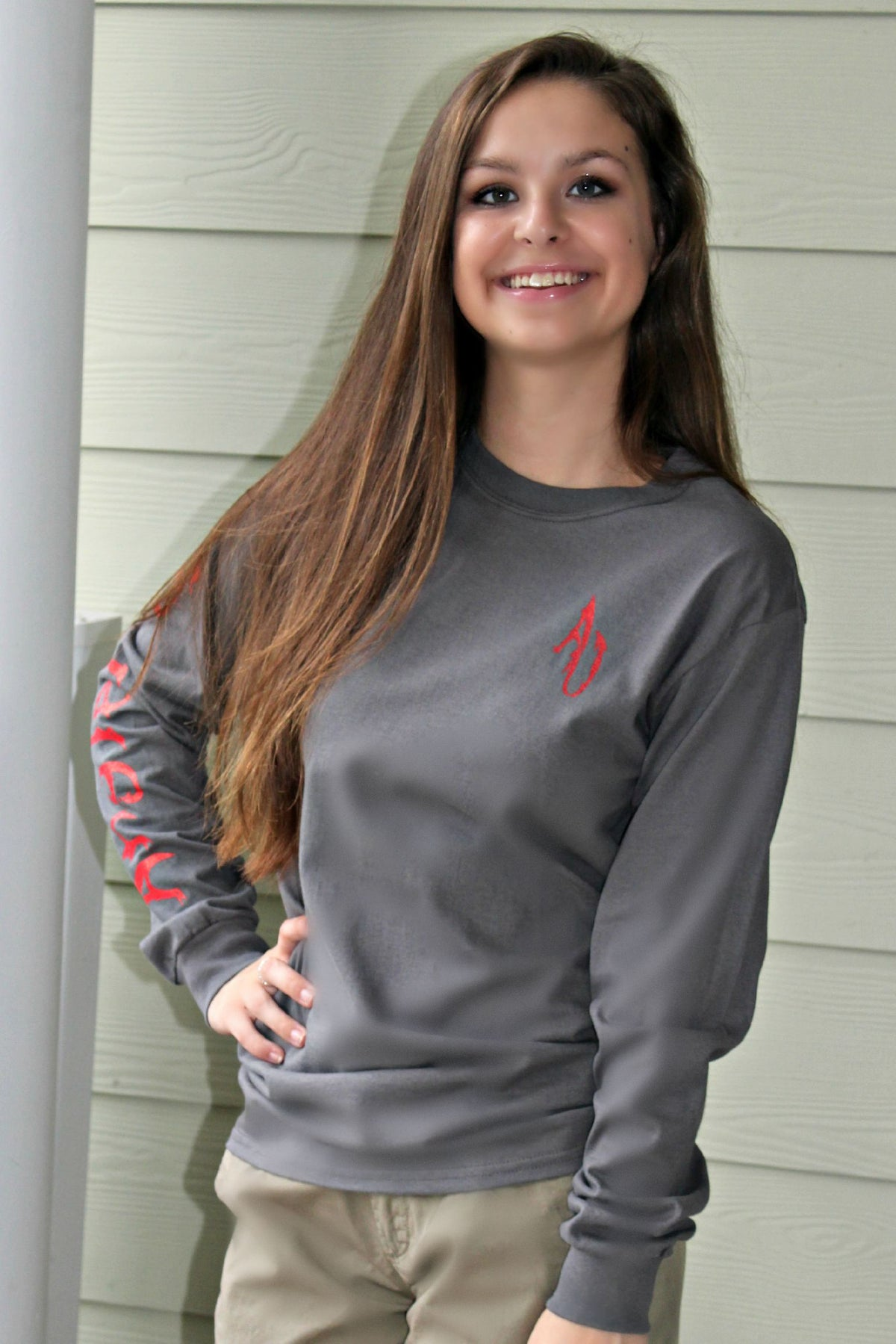 Angler Up: Men's Long Sleeve Tee, Gray/Red