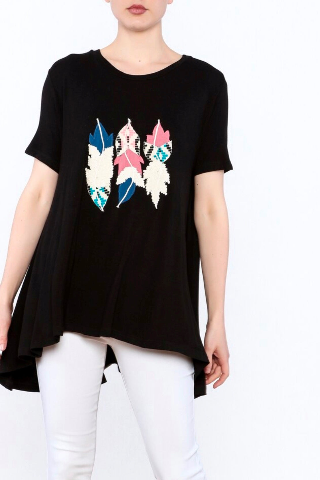 Judith March: Feather Applique Tee, Black