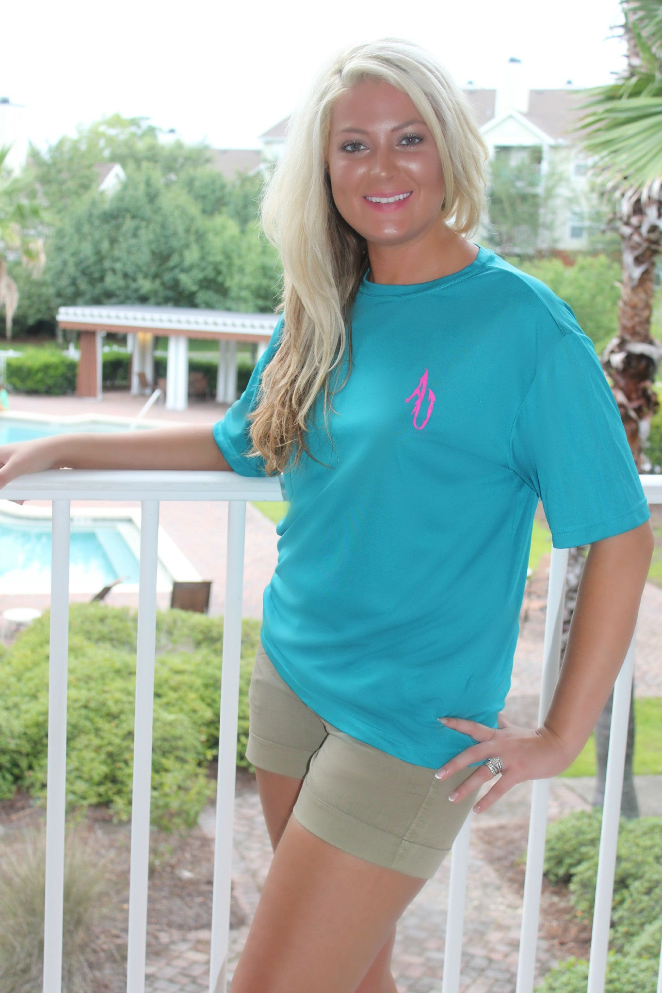 Angler Up: Short Sleeve Performance Tee, Turquoise/Pink