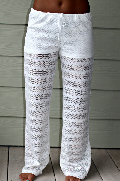 Chevron Knit Pants, Ivory