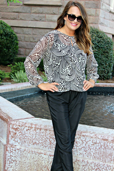 Sweet Pea: Kristen Blouse, Black/White