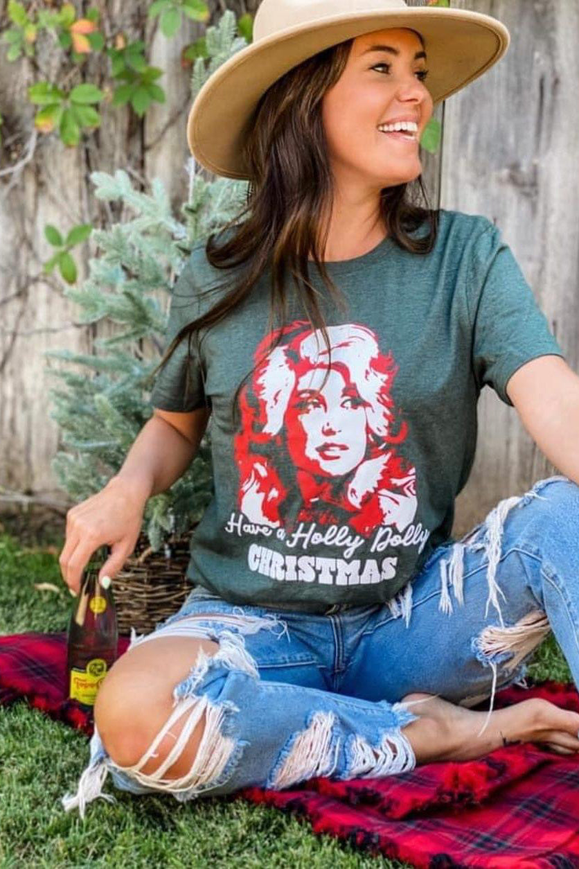 Holly Dolly Christmas Tee, Green