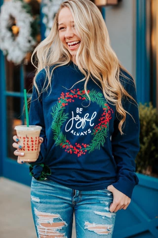 Joyful Wreath Tee, Navy