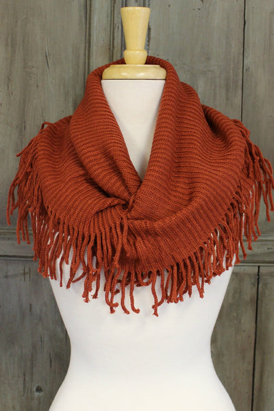 Ribbed Infinity Scarf with Fringe, Rust