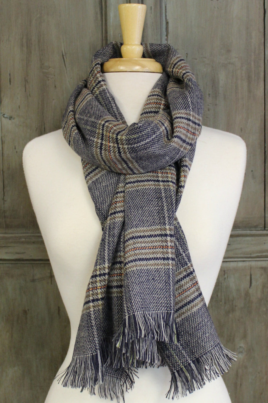 Plaid Fringed Scarf, Blue