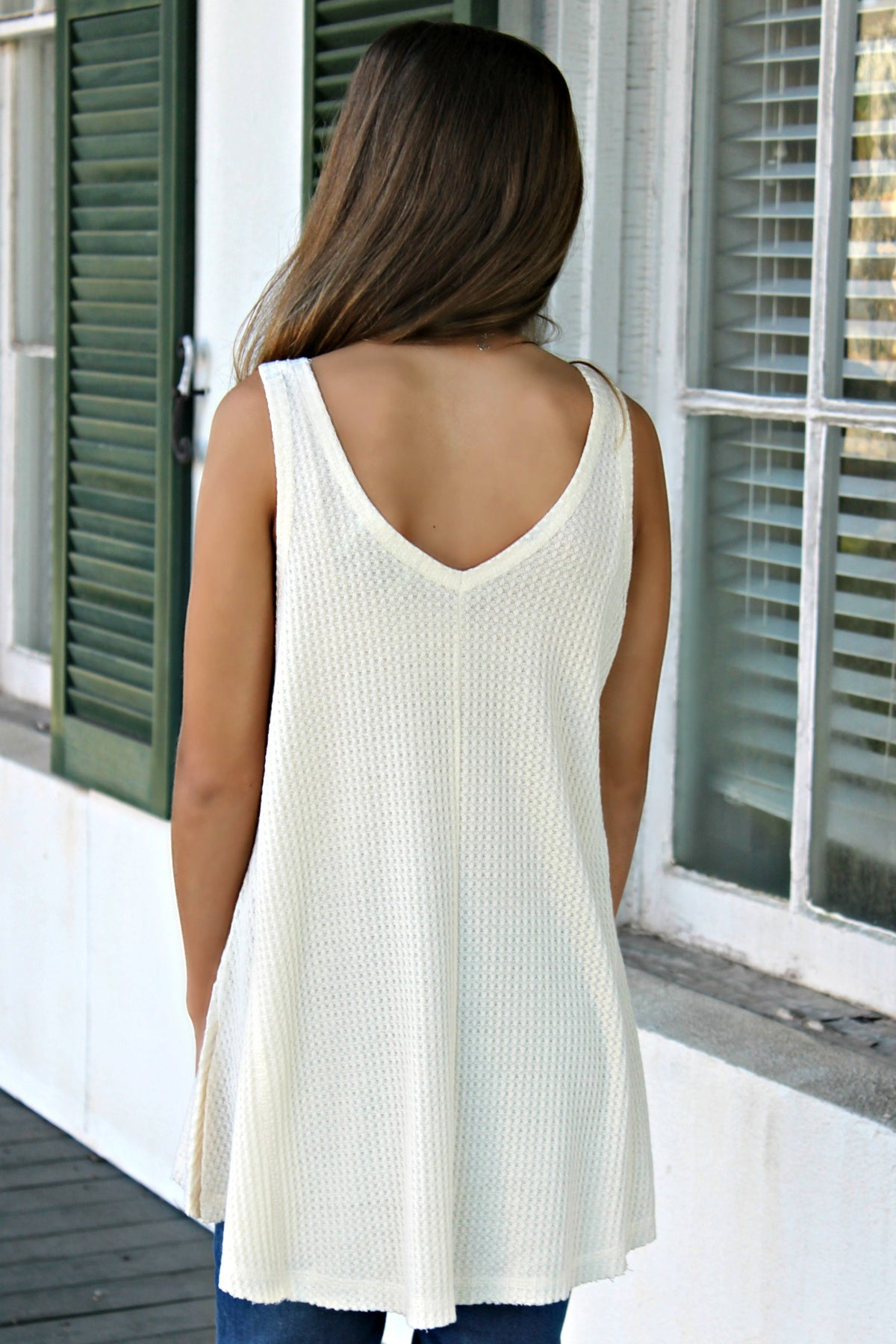 Judith March: Lake Hair Don't Care Waffle Tank, Ivory
