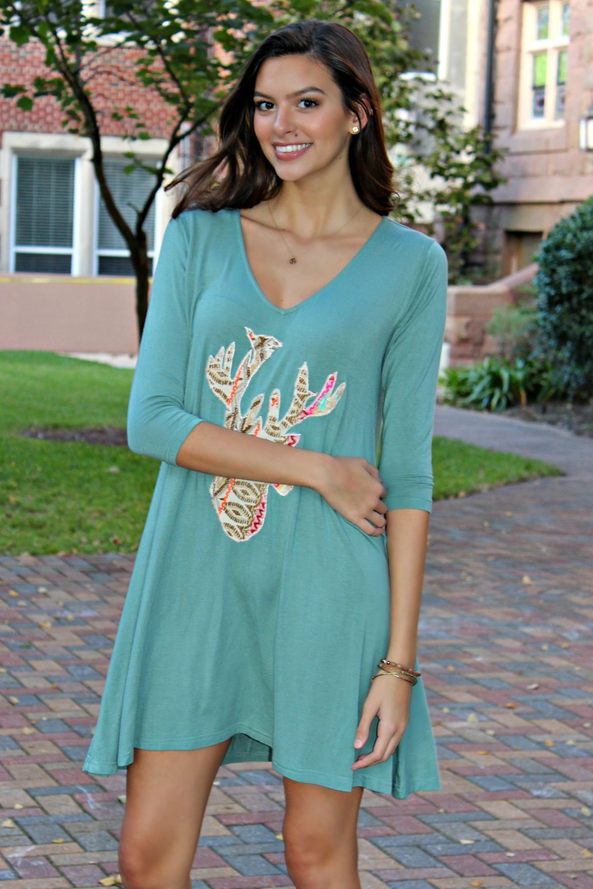 Judith March: Deer Applique Dress, Sage