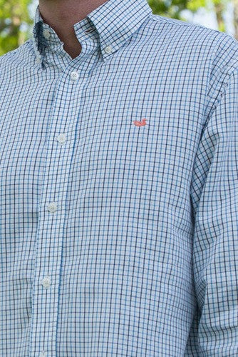 Southern Marsh: Lindley Tattersall Dress Shirt, Navy/French Blue