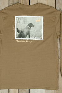 "Southern Marsh: ""Black Lab"" Long Sleeve Tee, Stone Brown"
