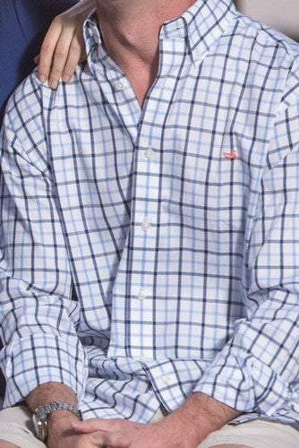 Southern Marsh: Madison Windowpane Dress Shirt, Navy and French Blue