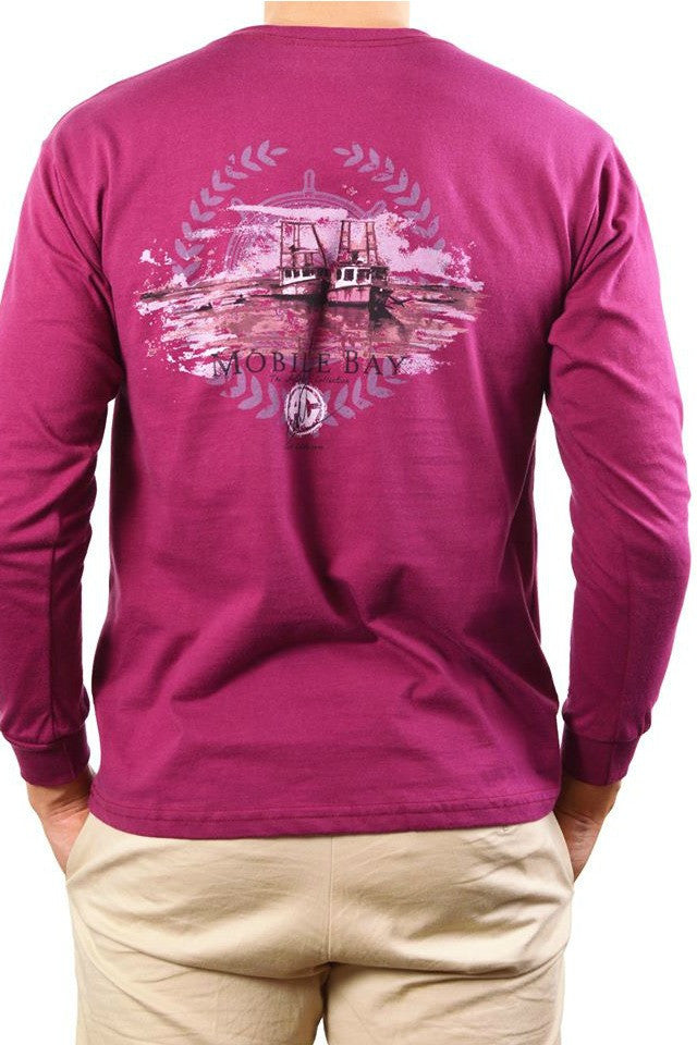 Mobile Bay: Morning Boats Long Sleeve Tee, Burgundy