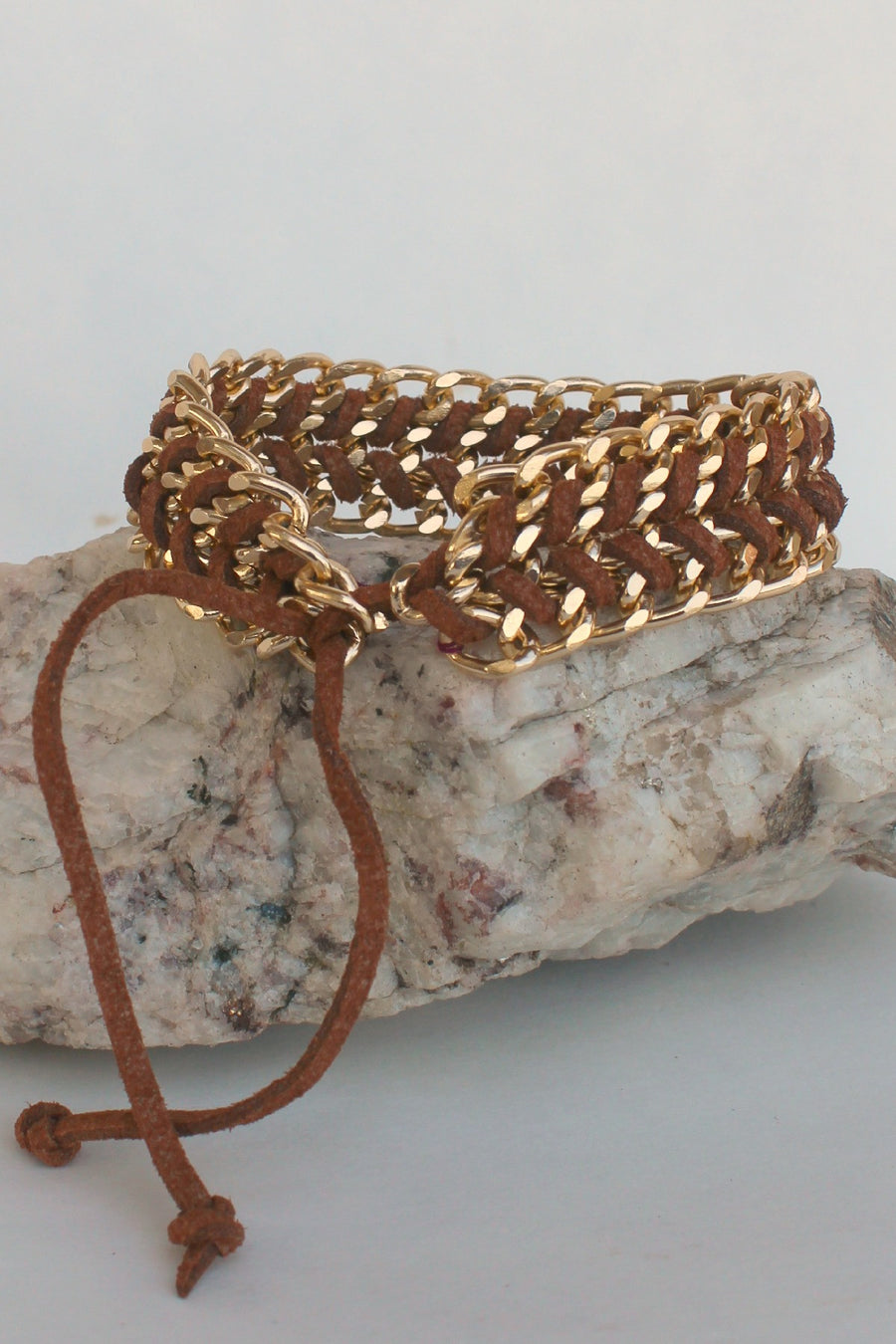 Elise M Braided Link Bracelet, Brown