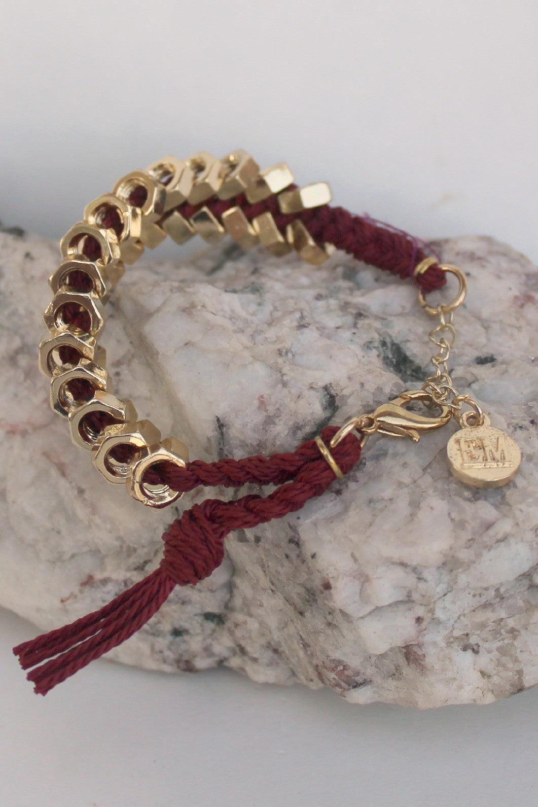 Elise M Braided Hex Nut Bracelet, Burgundy