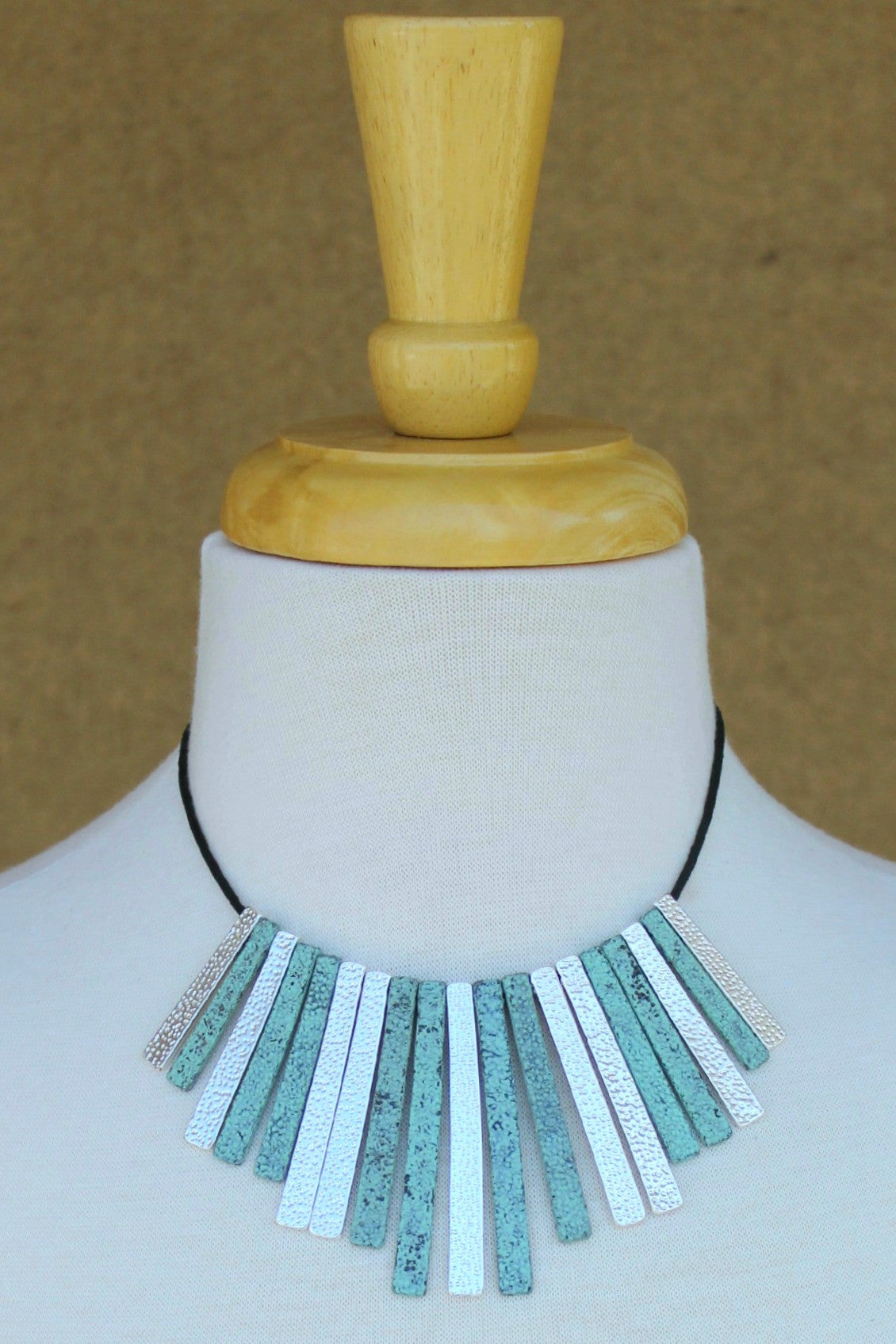 Textured Bar Necklace, Turquoise