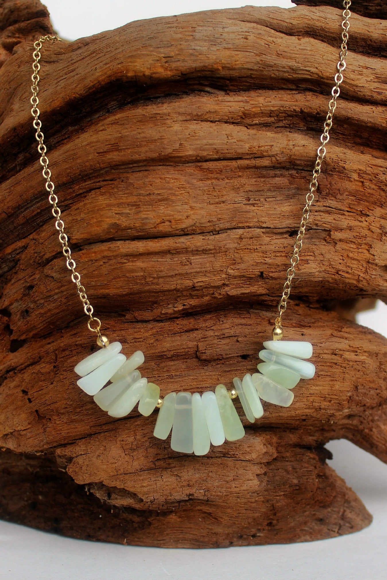 Agate Stone Chip Necklace, Mint