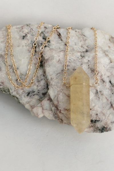 Natural Spike Pendant Necklace, Gold