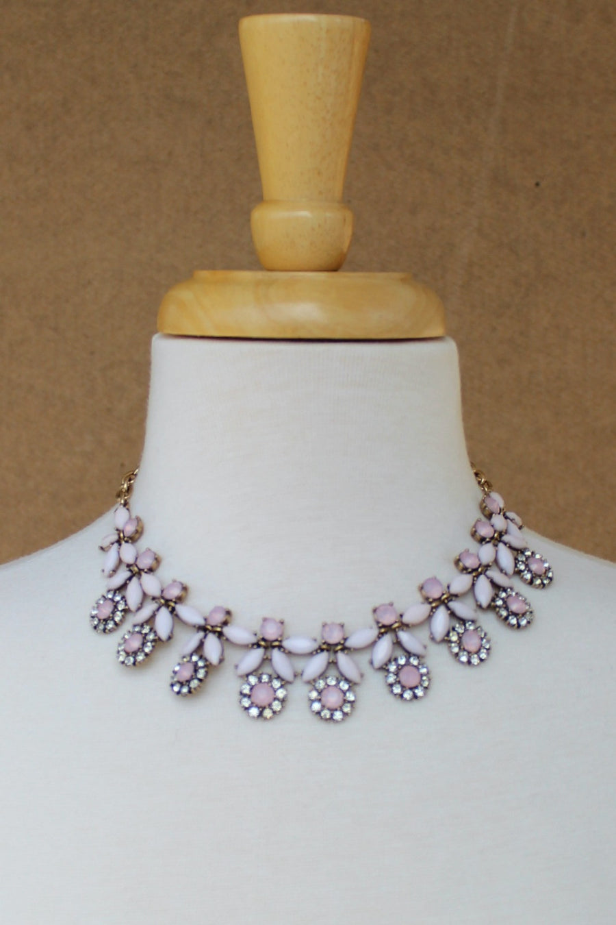 Marquise Flower Drop Bead Necklace, Pink