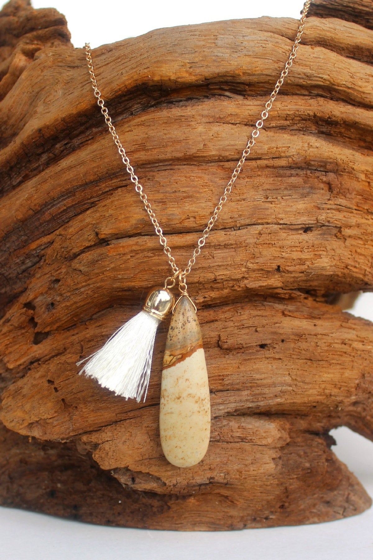 Oval Stone with Tassel Necklace, Natural