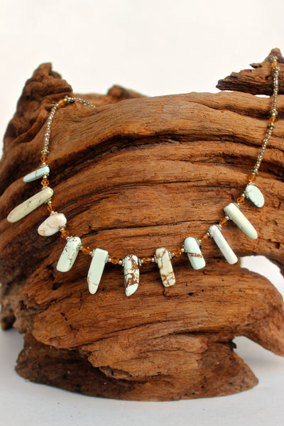 Stone Bar Beaded Necklace, Natural