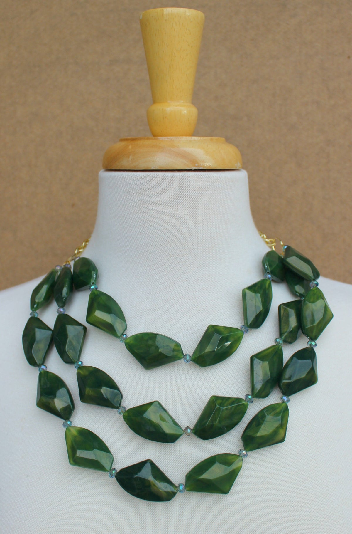 Triple Chunky Beaded Necklace, Green