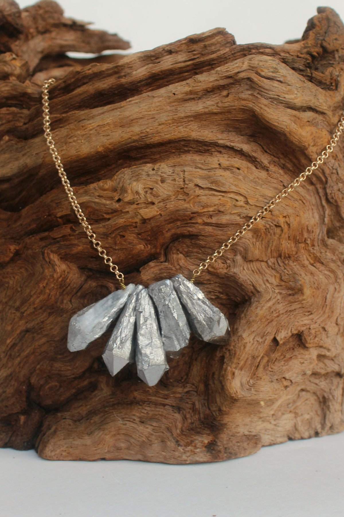 Natural Cut Stick Stone Necklace, Silver