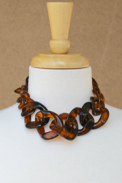 Bold Tortoise Chain Necklace, Brown