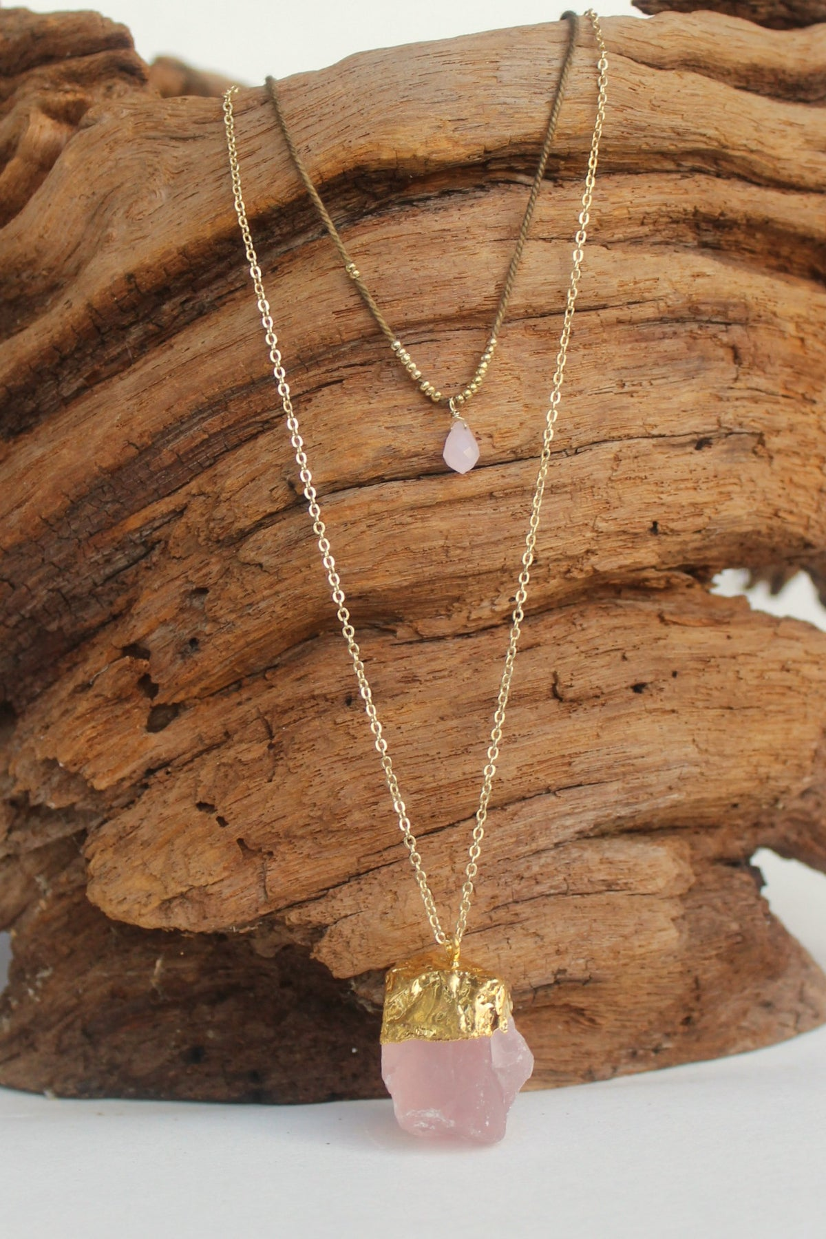 Layered Rose Quartz Pendant Necklace, Pink