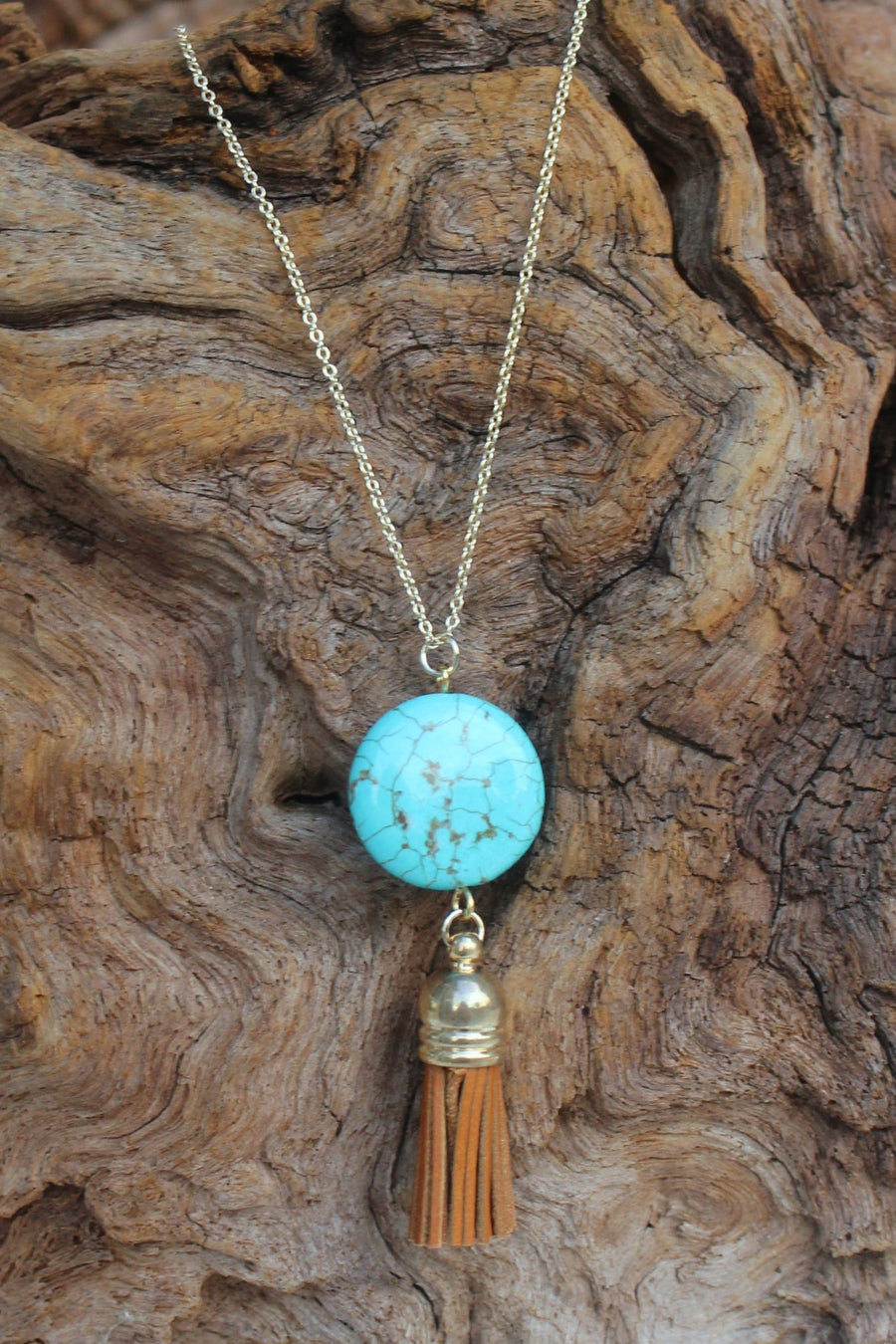 Round Stone and Tassel Pendant Necklace, Turquoise