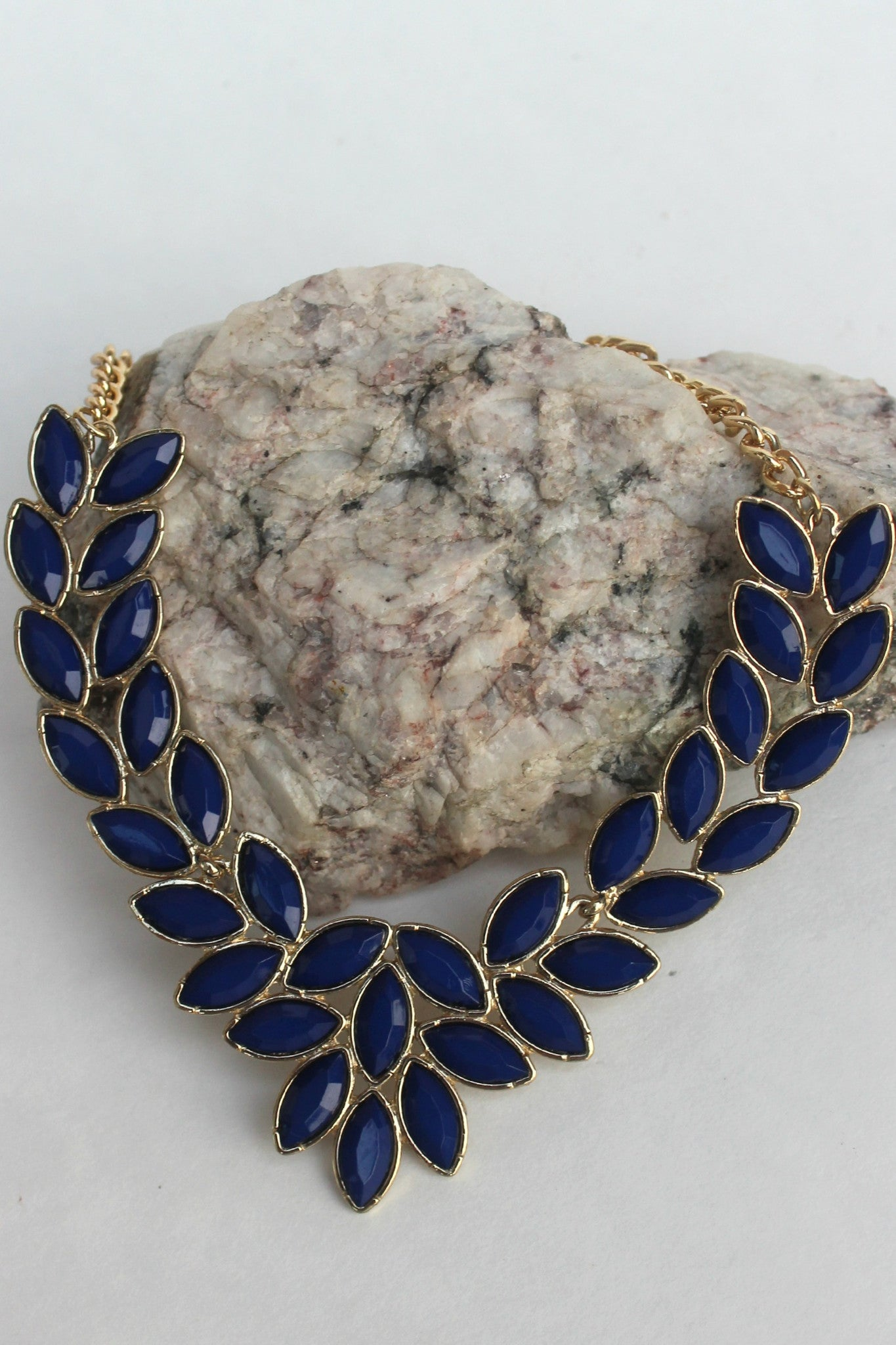 Multi Marquise Beaded Necklace, Navy
