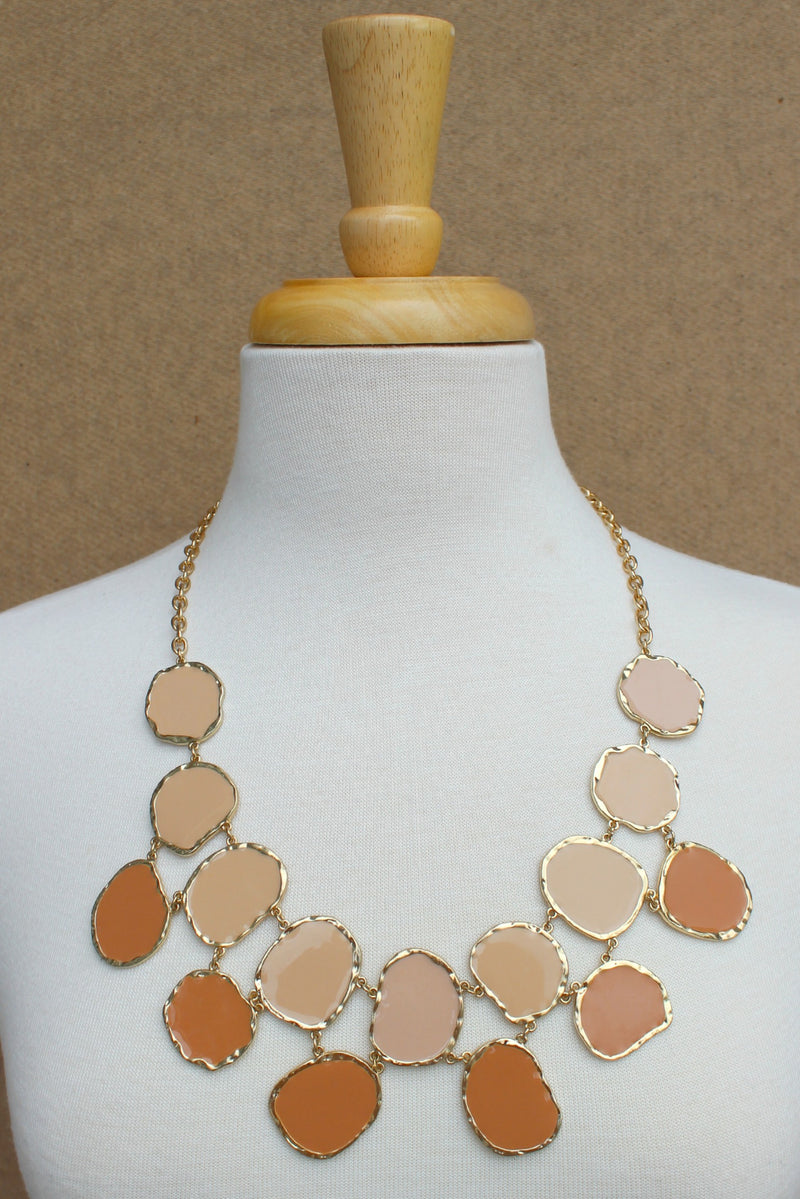 Double Layer Organic Necklace, Nude