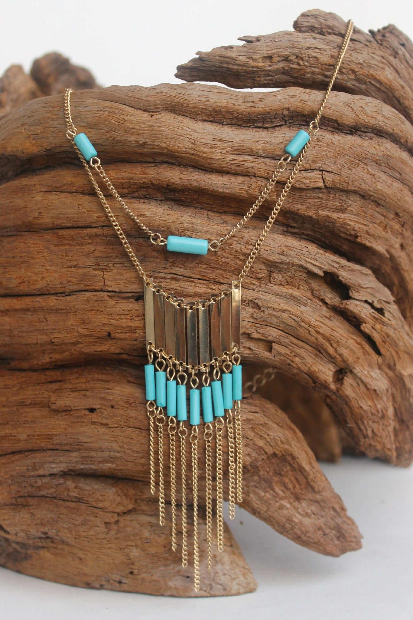 Bars, Beads, and Chains Necklace, Turquoise