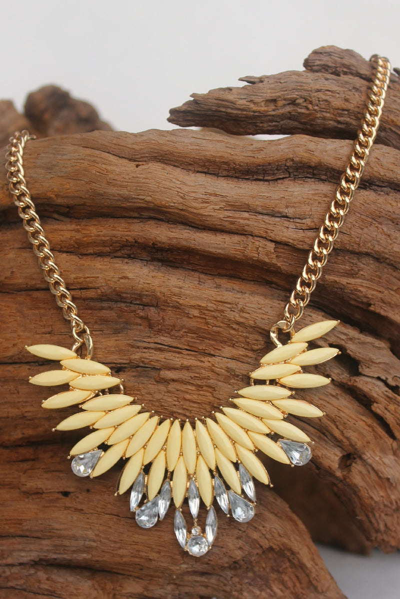 Marquise and Crystal Necklace, Yellow