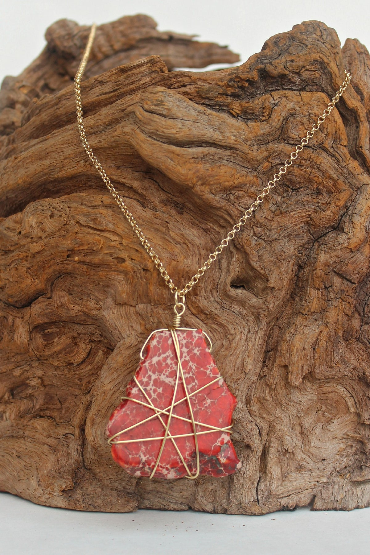 Wire Wrapped Stone Necklace, Red