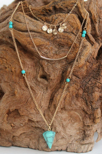 Layered Spike and Bar Necklace, Turquoise